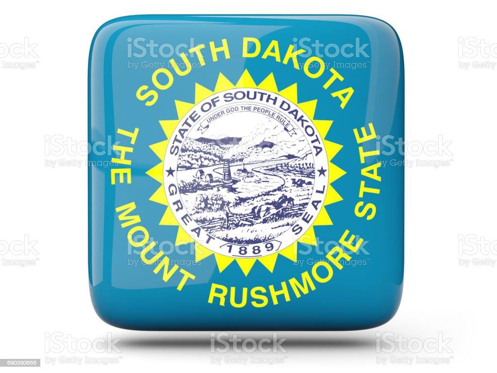 Flag of south dakota, US state square icon stock photo