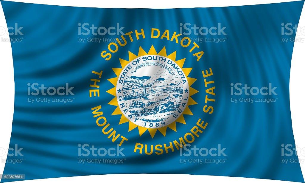 Flag of South Dakota waving isolated on white stock photo