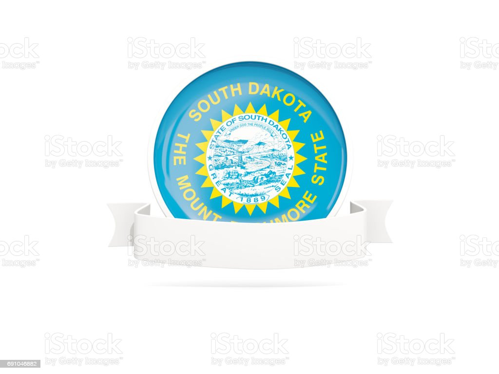 Flag of south dakota with banner, US state round icon stock photo
