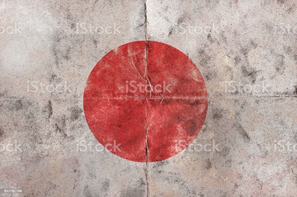 Flag of South Japan on a vintage folded sheet stock photo