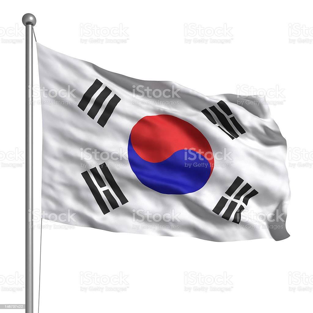 Flag of South Korea (Isolated) stock photo