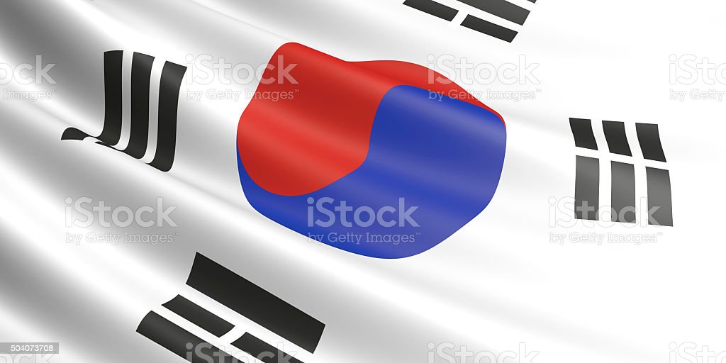 Flag of South Korea waving in the wind. royalty-free stock photo