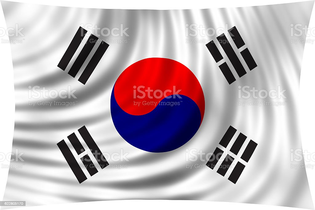 Flag of South Korea waving isolated on white stock photo