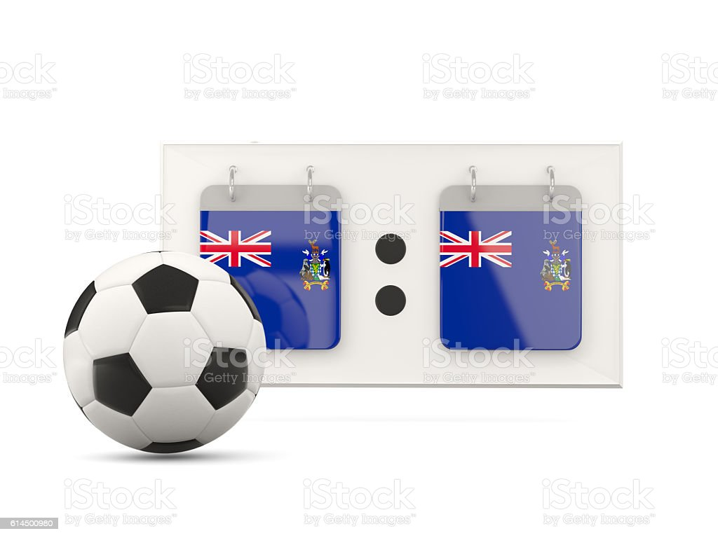 Flag of south sandwich islands, football with scoreboard stock photo
