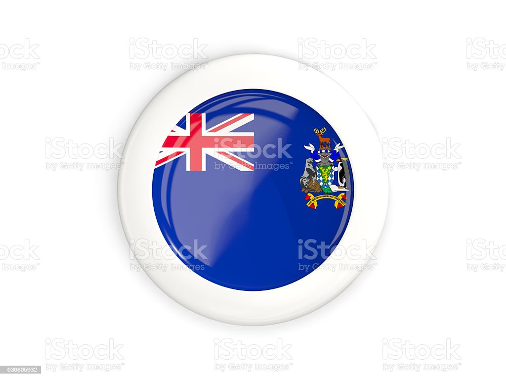 Flag of south sandwich islands, glossy round button stock photo