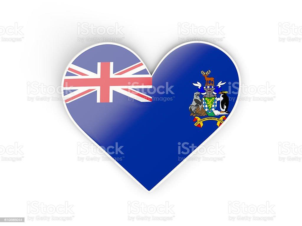 Flag of south sandwich islands, heart shaped sticker stock photo