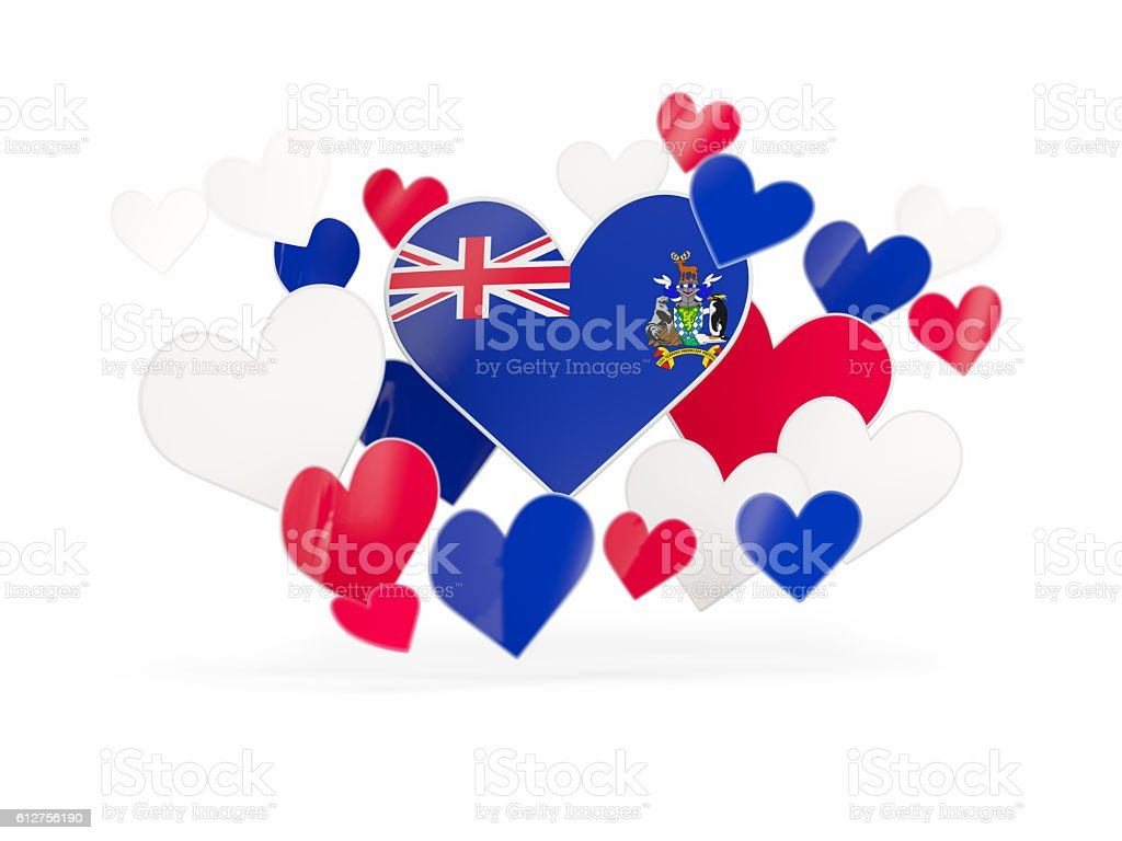 Flag of south sandwich islands, heart shaped stickers stock photo