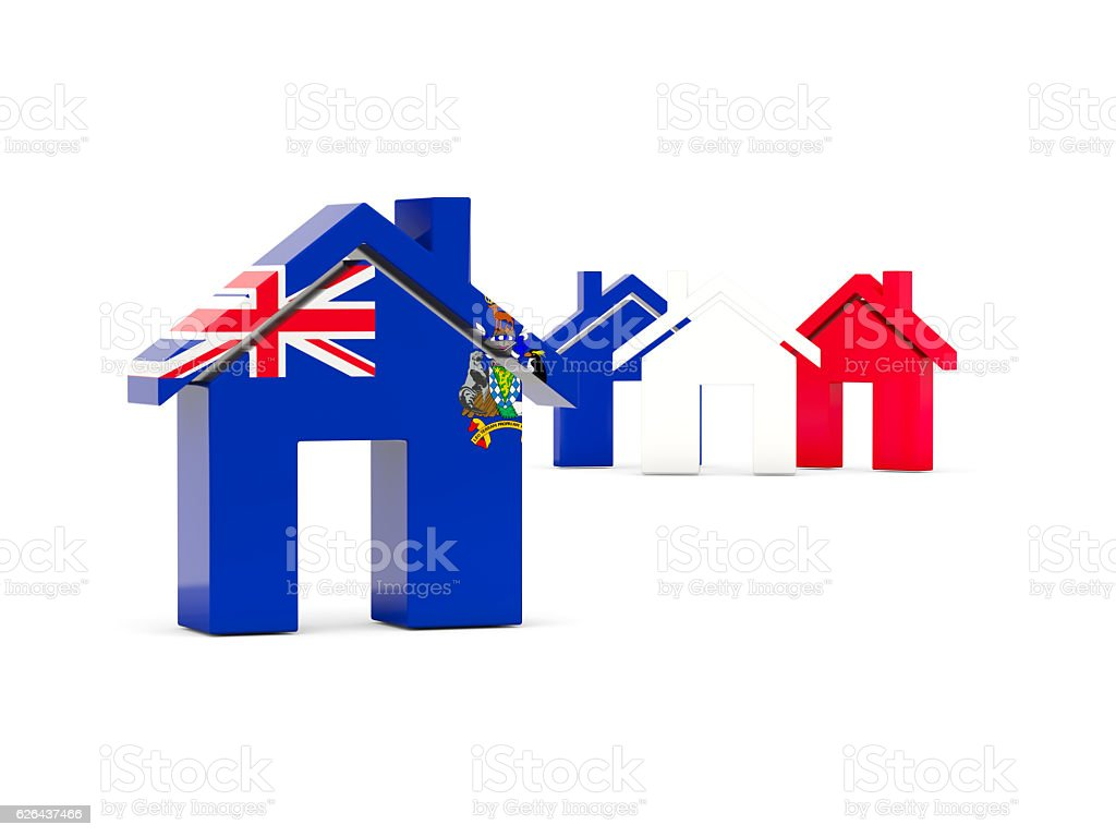Flag of south sandwich islands, home icon stock photo