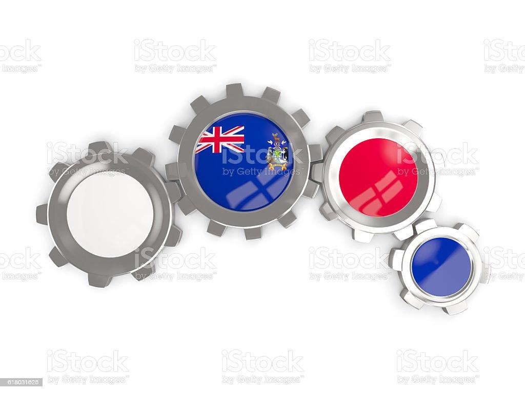 Flag of south sandwich islands, metallic gears stock photo