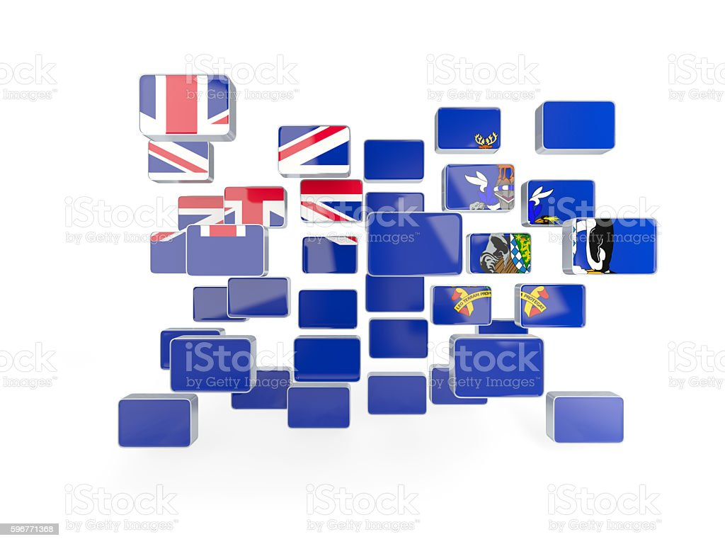 Flag of south sandwich islands, mosaic background stock photo