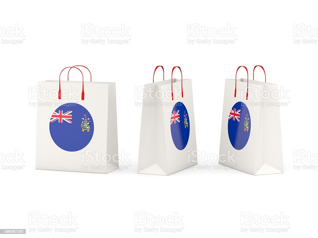 Flag of south sandwich islands on shopping bags stock photo