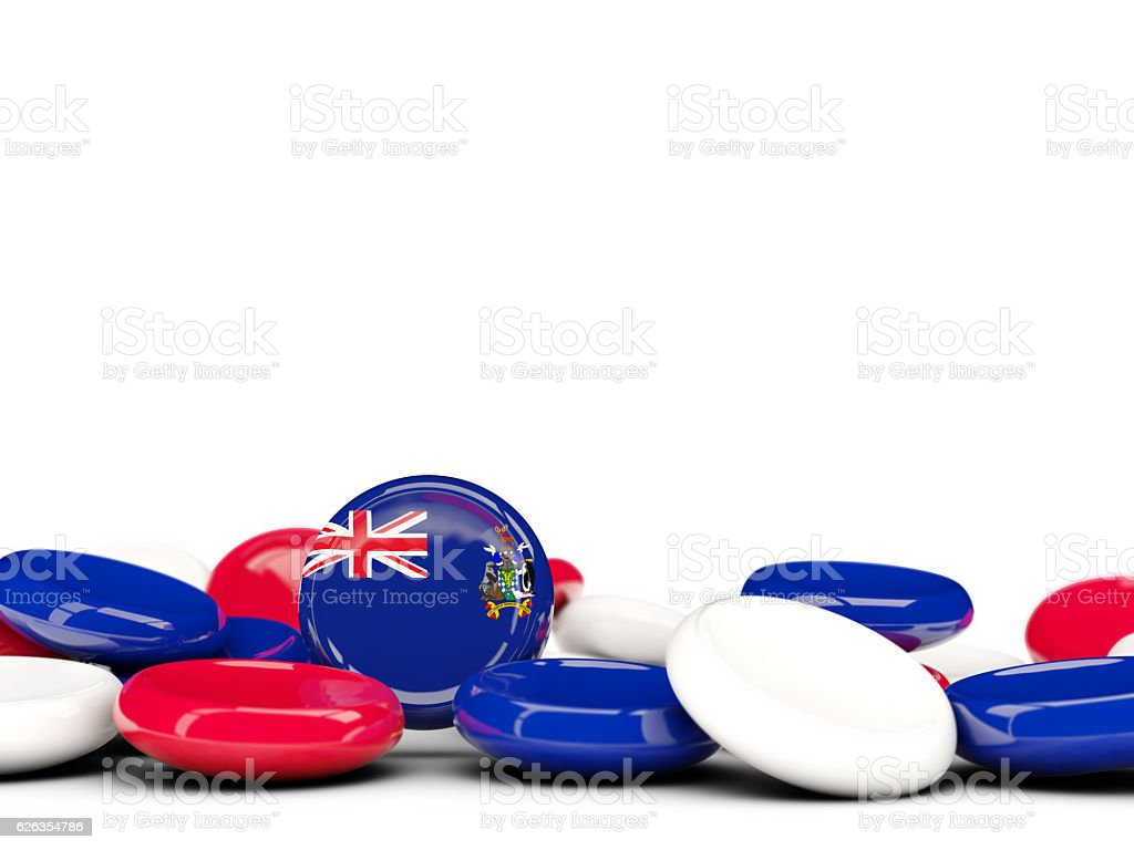 Flag of  south sandwich islands, round buttons stock photo