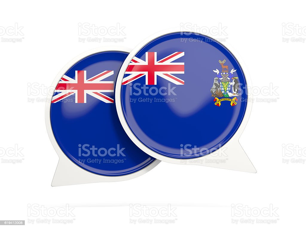 Flag of south sandwich islands, round chat icon stock photo
