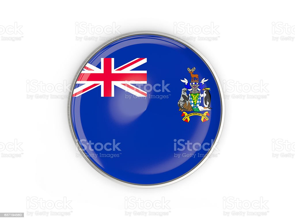 Flag of south sandwich islands, round icon stock photo
