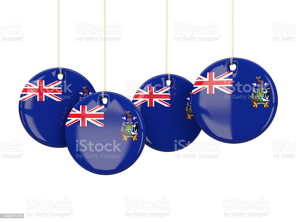 Flag of south sandwich islands, round labels stock photo