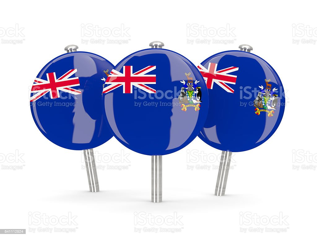 Flag of south sandwich islands, round pins stock photo