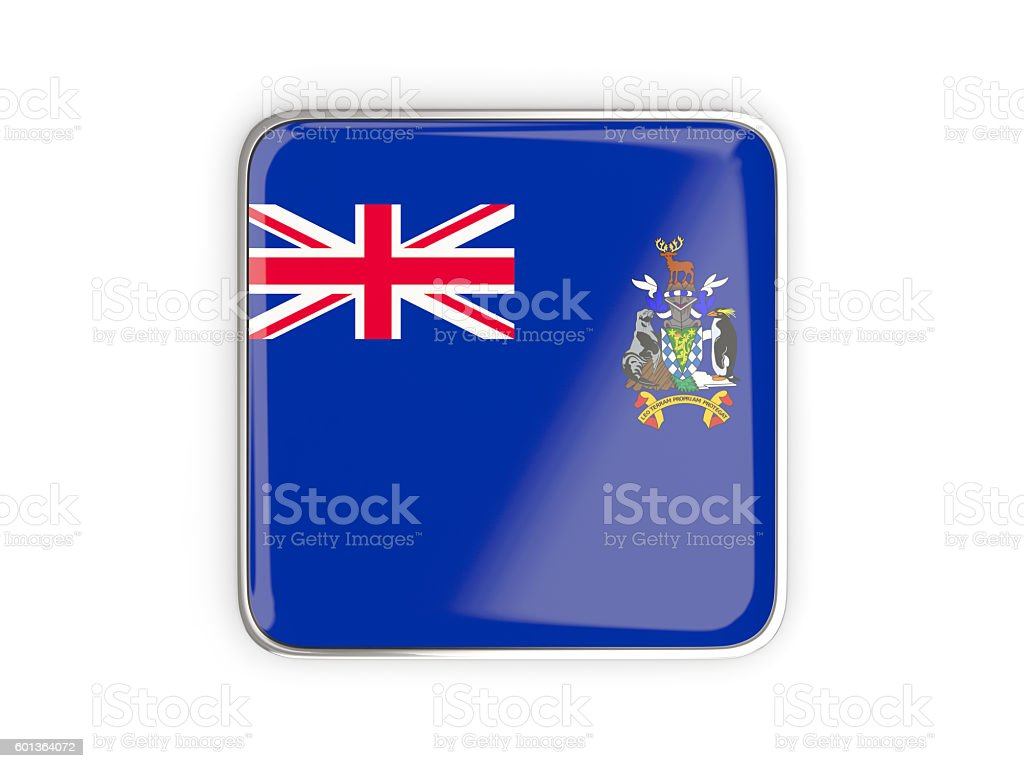 Flag of south sandwich islands, square icon stock photo