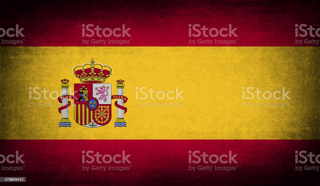 Flag of Spain with old texture. vector art illustration