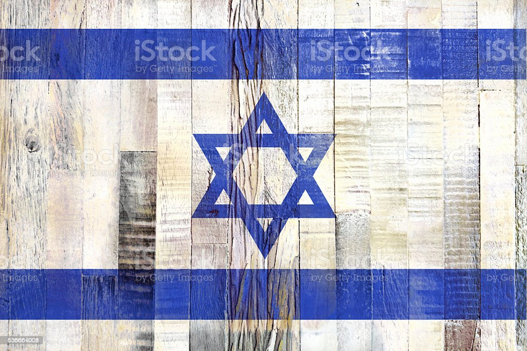 Flag of İsrael, painted on a grunge plank stock photo