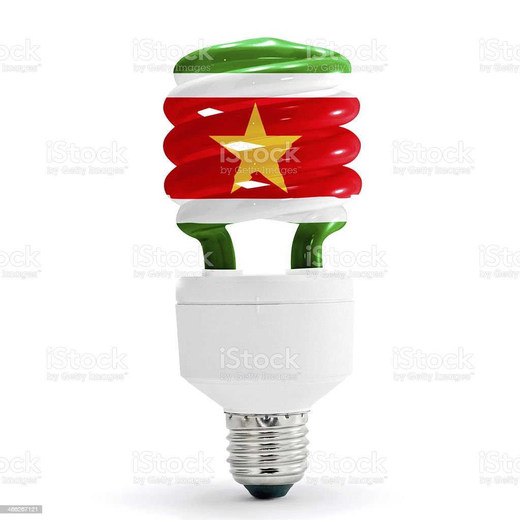 Flag Of  Suriname On Bulb royalty-free stock photo