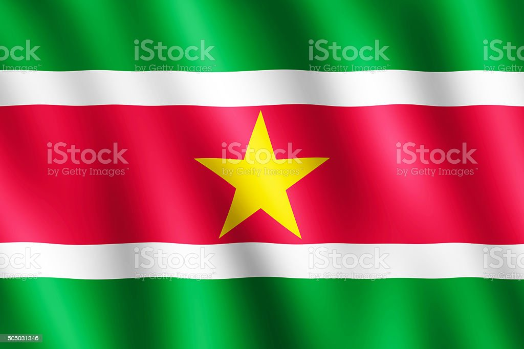 Flag of Suriname waving in the wind stock photo