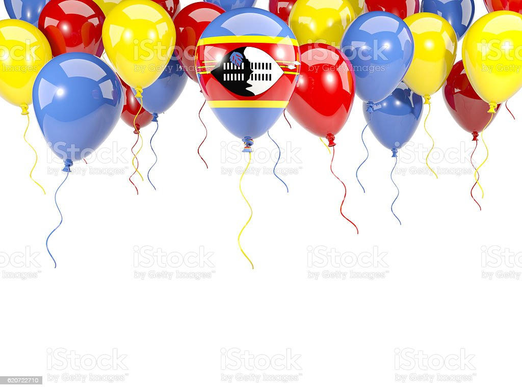 Flag of swaziland on balloons stock photo