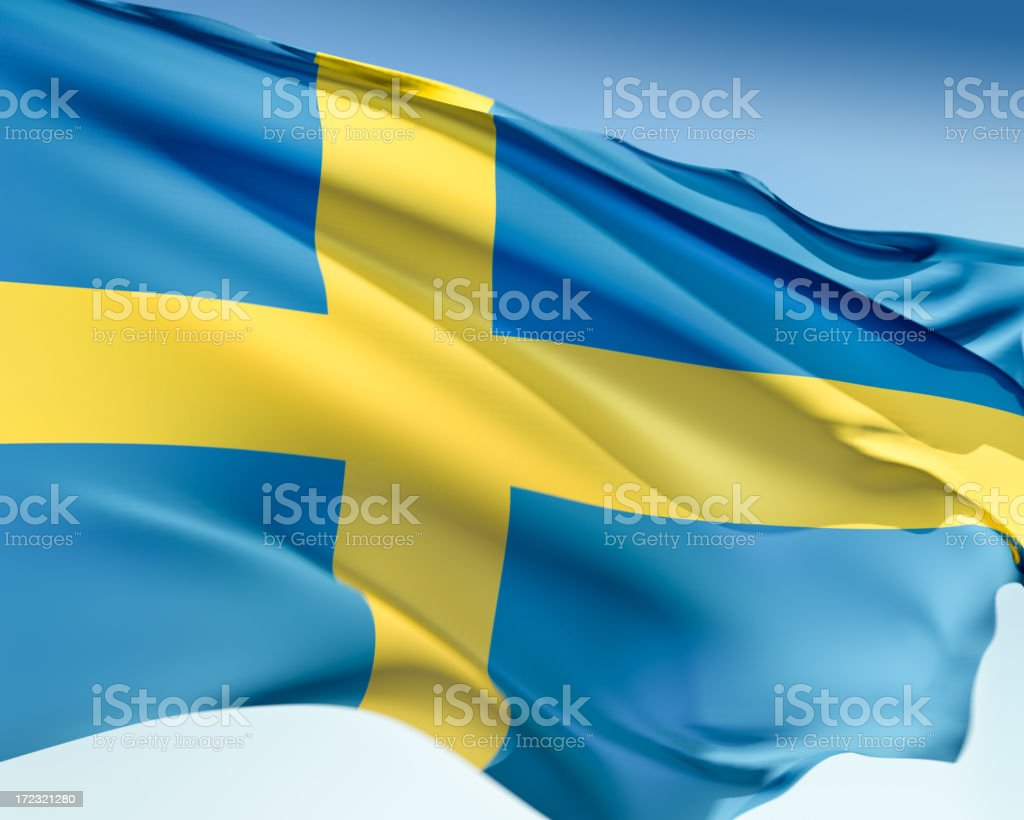 Flag of Sweden in blue and yellow stock photo