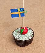 Flag of sweden on cupcake