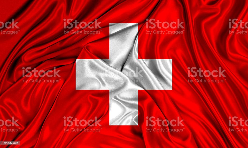 Flag of Switzerland 3d, silk textured stock photo