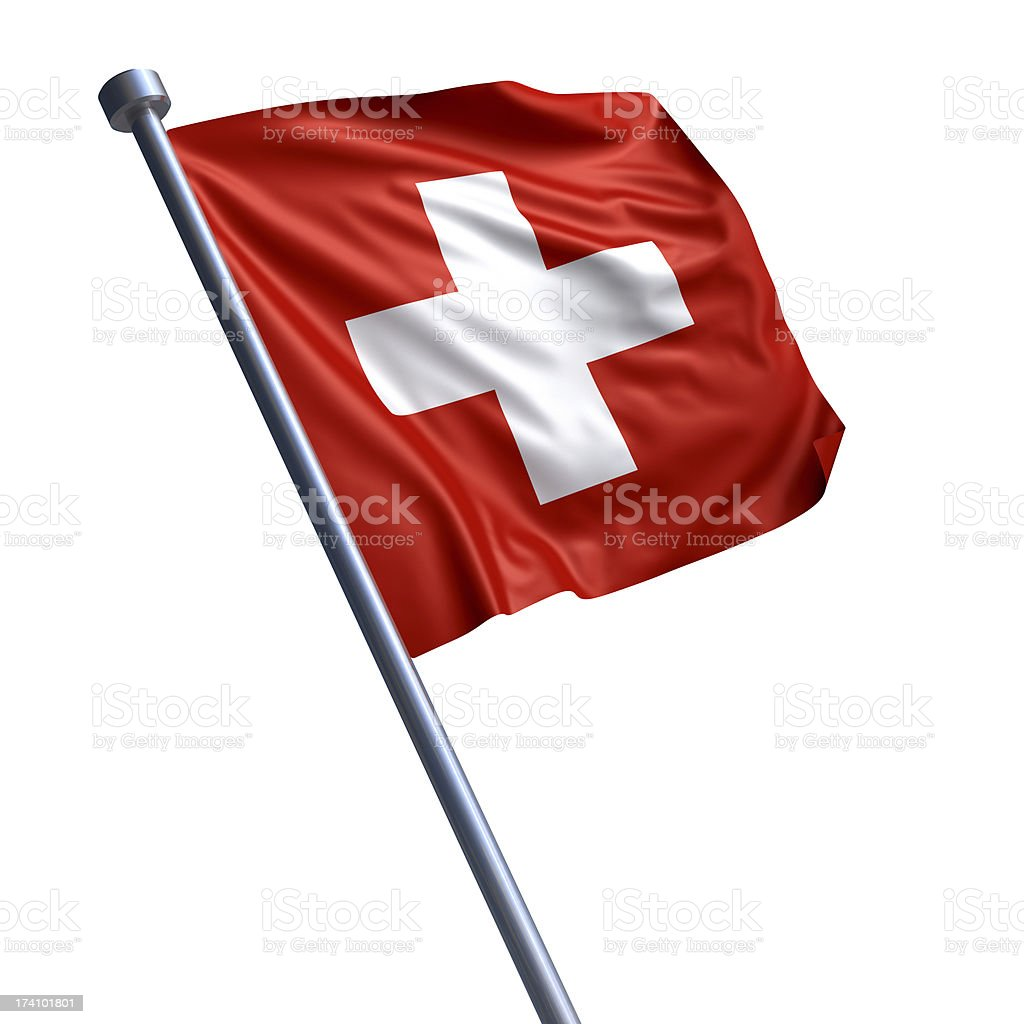 Flag of Switzerland isolated on white stock photo