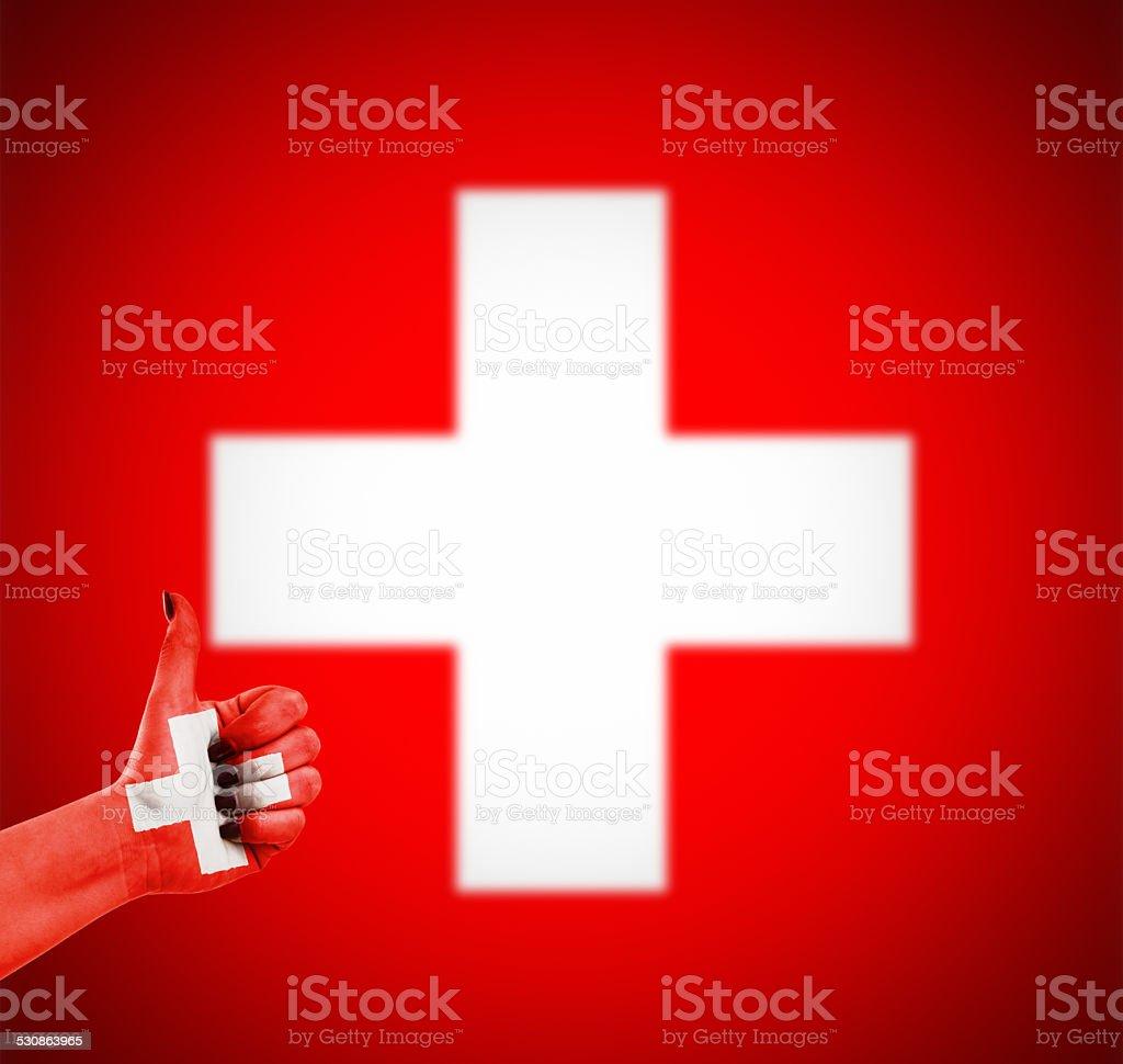 Flag of Switzerland on hand stock photo