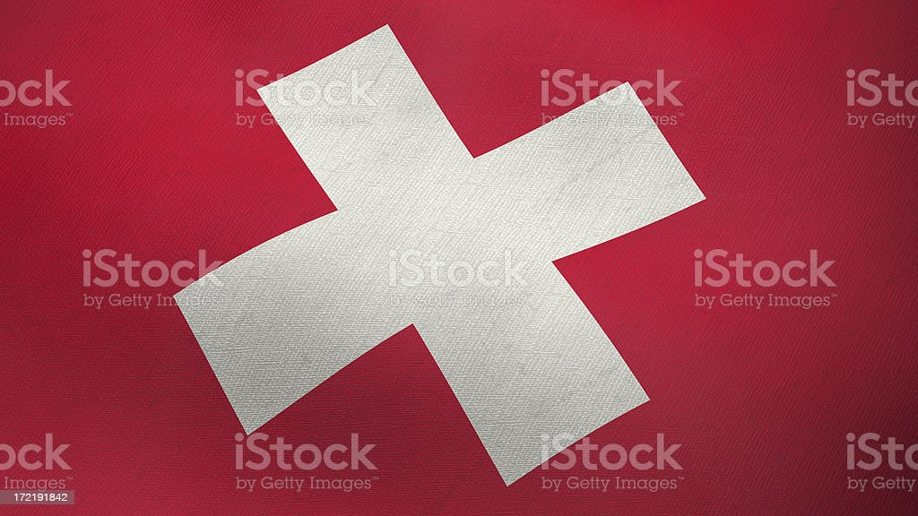 3D flag of Switzerland stock photo