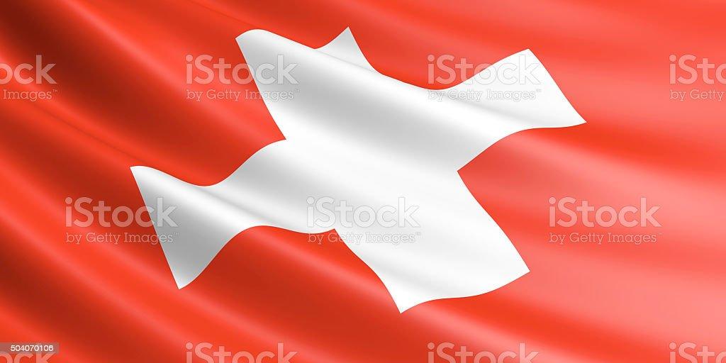Flag of Switzerland waving in the wind. royalty-free stock vector art