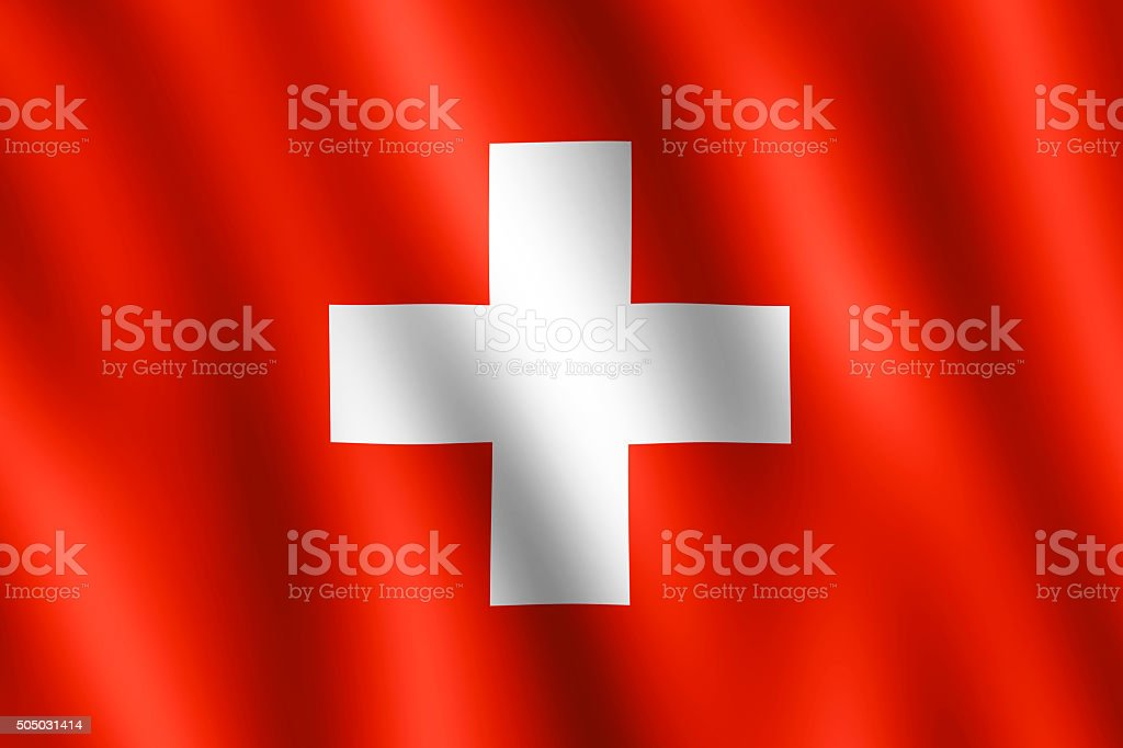 Flag of Switzerland waving in the wind stock photo