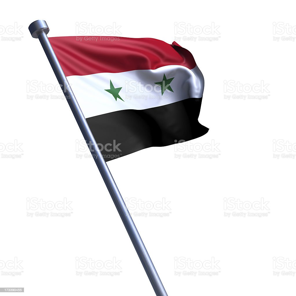 Flag of Syria isolated on white stock photo