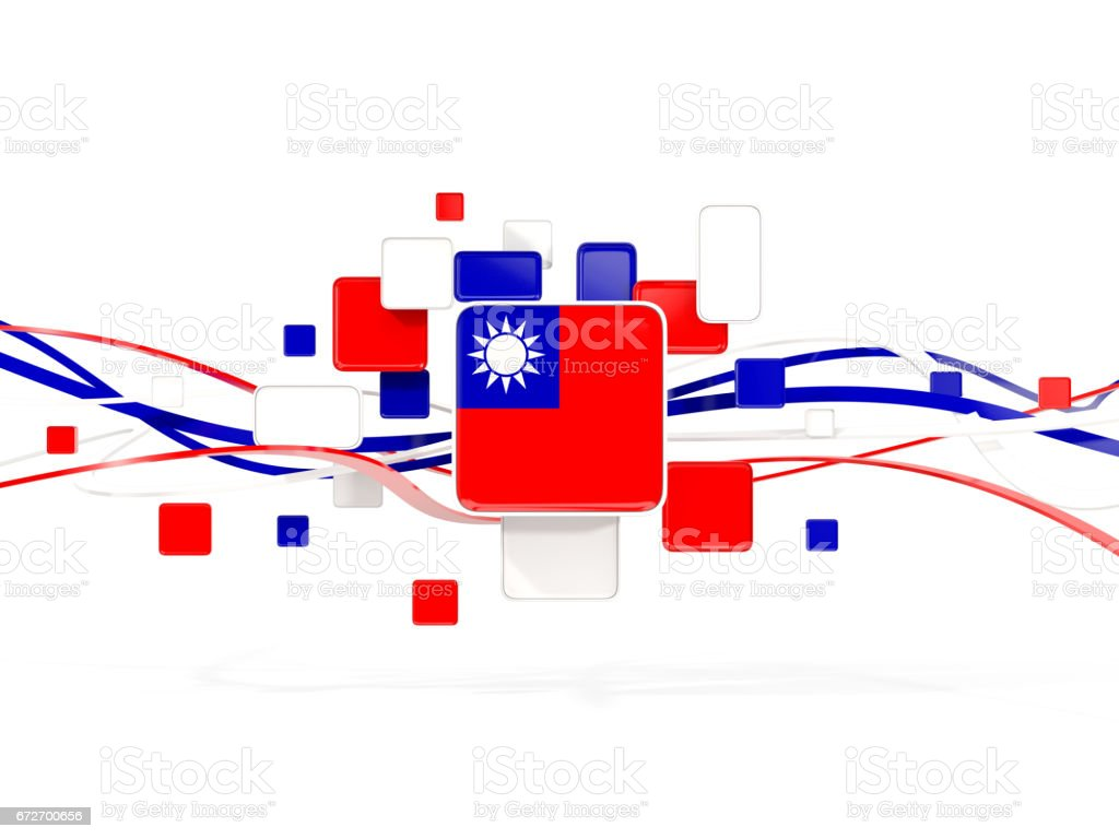 Flag of taiwan, mosaic background with lines stock photo