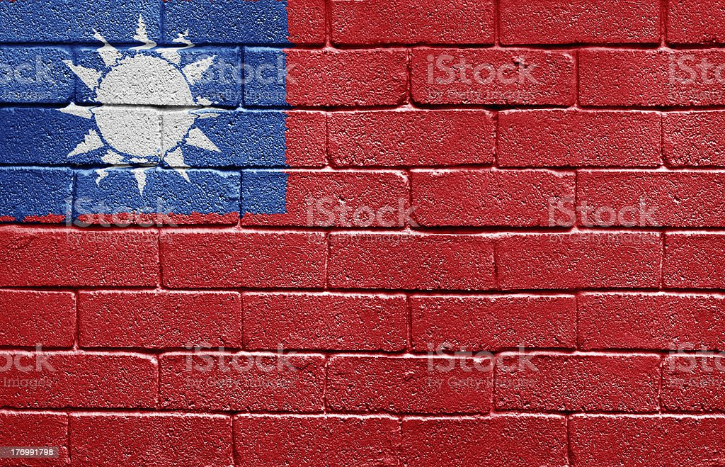 Flag of Taiwan on brick wall royalty-free stock photo