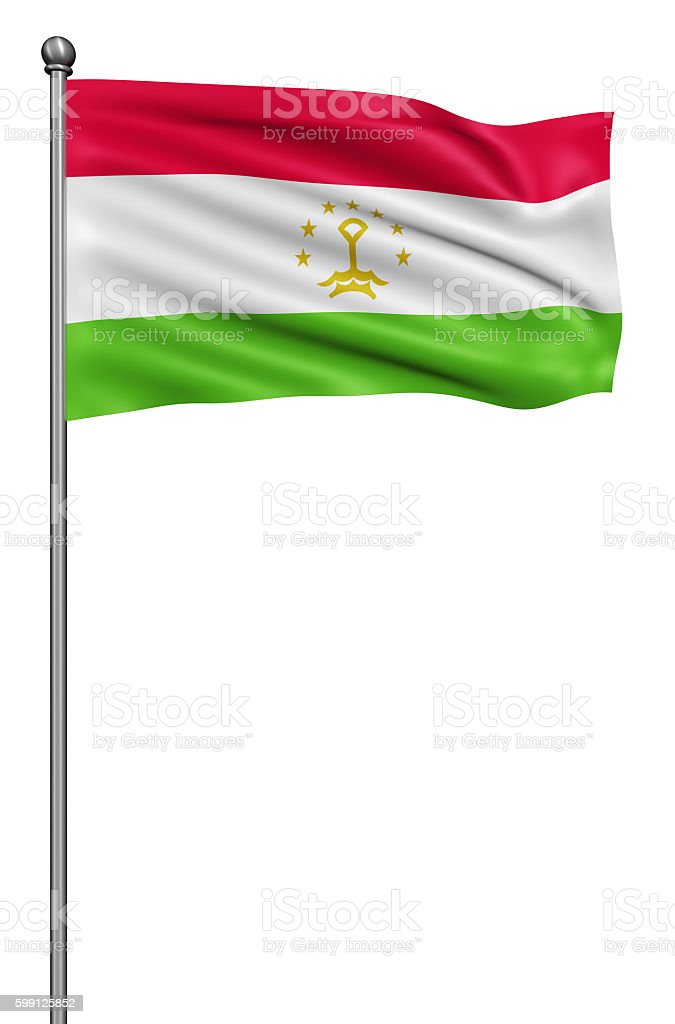 Flag of Tajikistan against white background. stock photo
