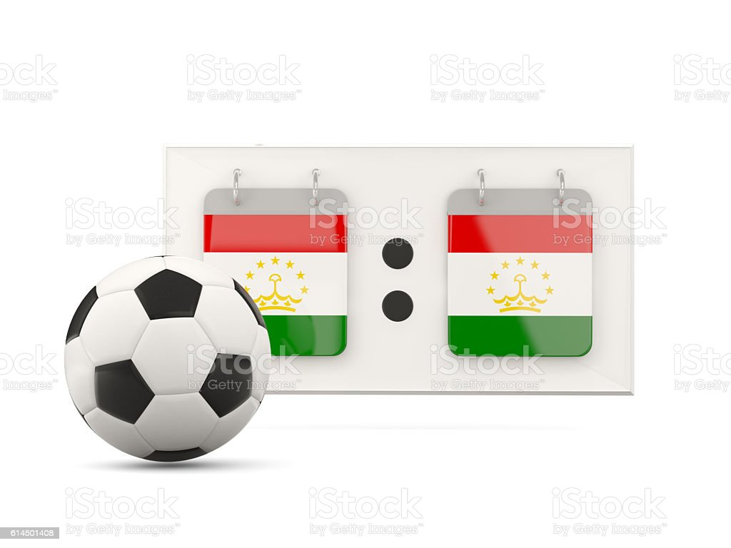 Flag of tajikistan, football with scoreboard stock photo
