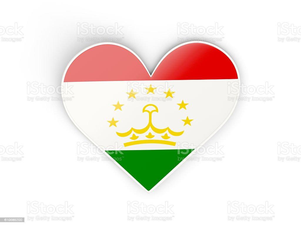 Flag of tajikistan, heart shaped sticker stock photo