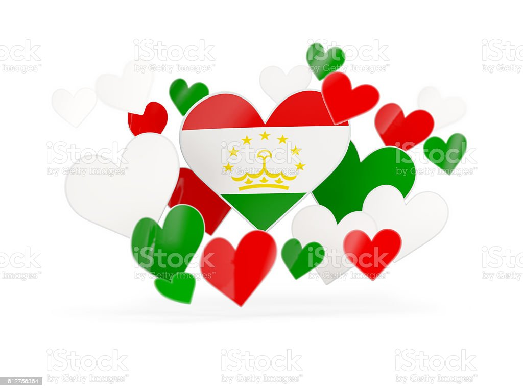 Flag of tajikistan, heart shaped stickers stock photo