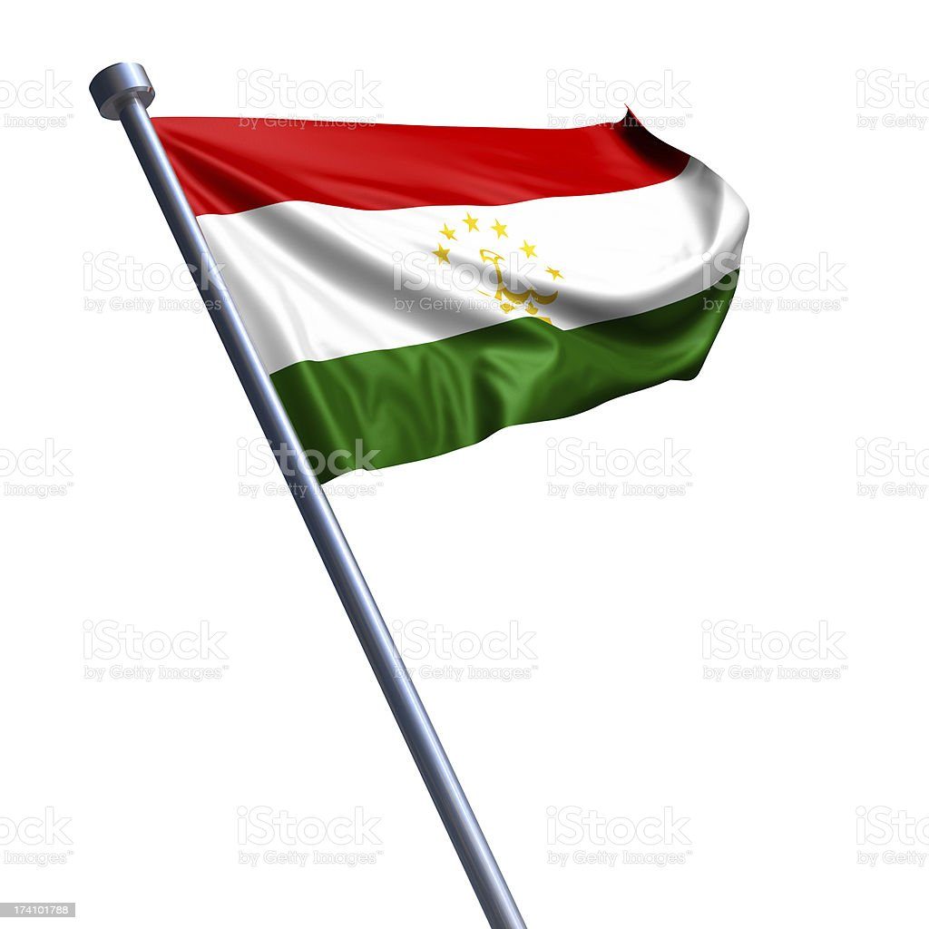 Flag of Tajikistan isolated on white stock photo