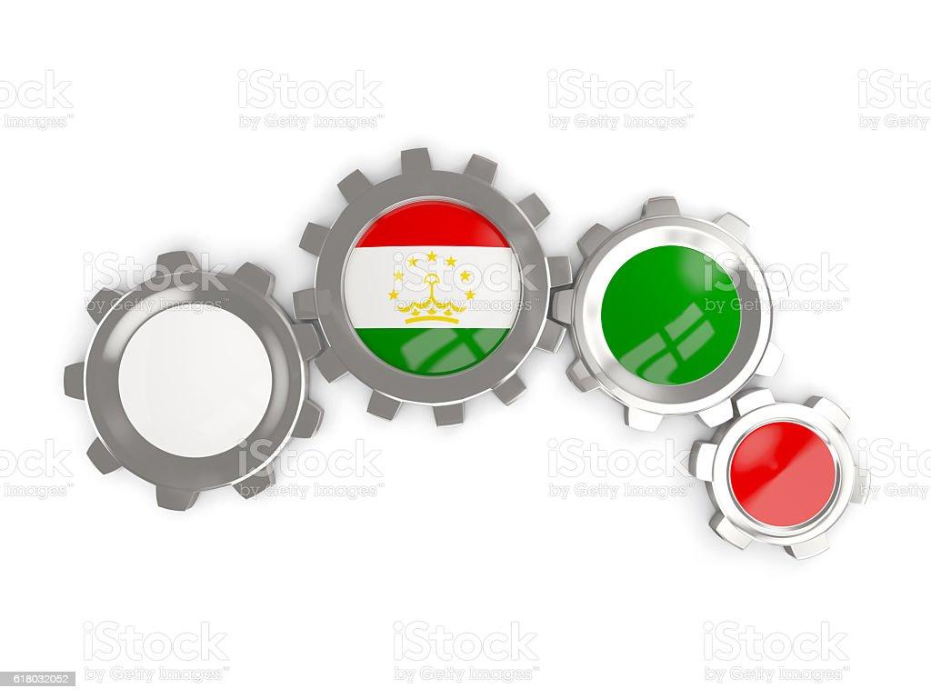 Flag of tajikistan, metallic gears stock photo