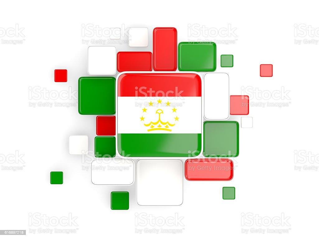 Flag of tajikistan, mosaic background stock photo