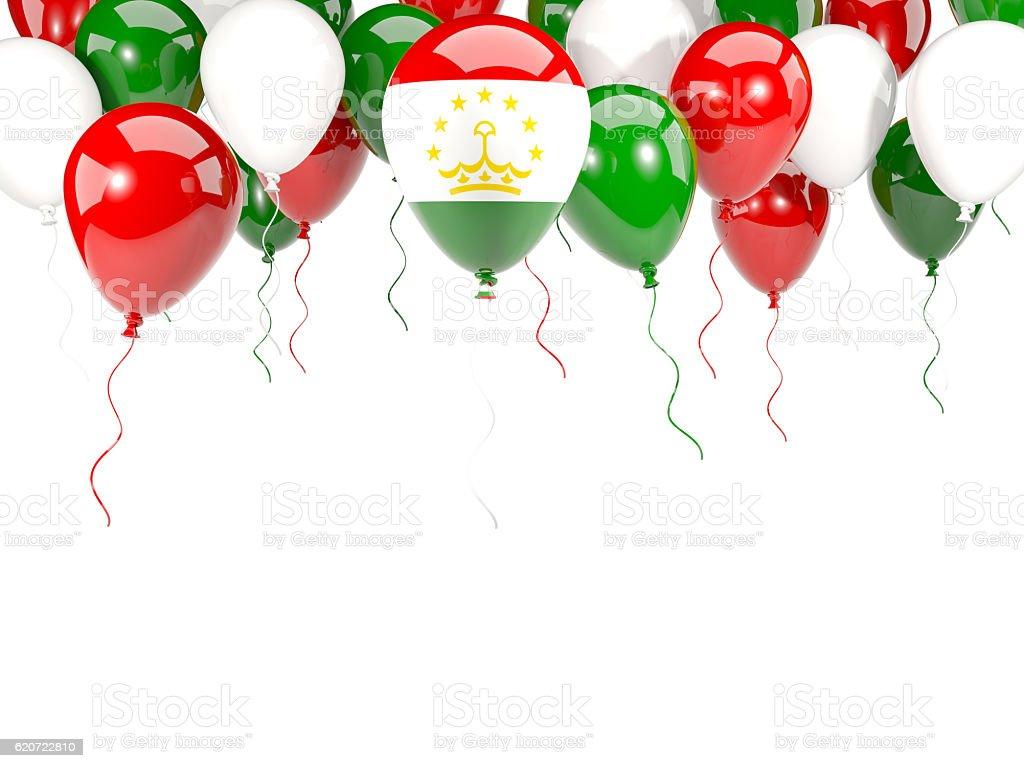 Flag of tajikistan on balloons stock photo
