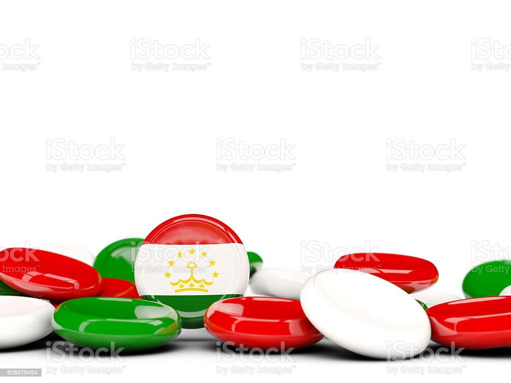 Flag of tajikistan, round buttons stock photo