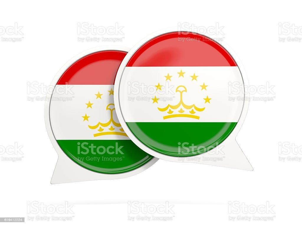 Flag of tajikistan, round chat icon stock photo