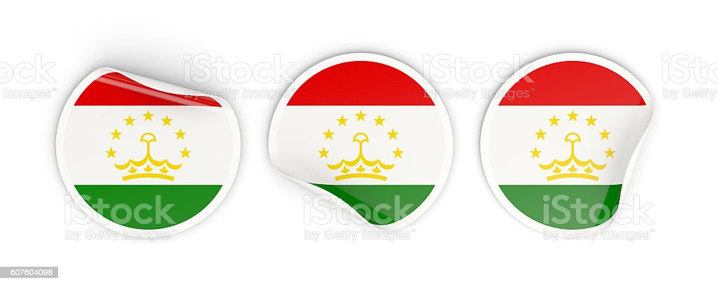 Flag of tajikistan, round labels stock photo