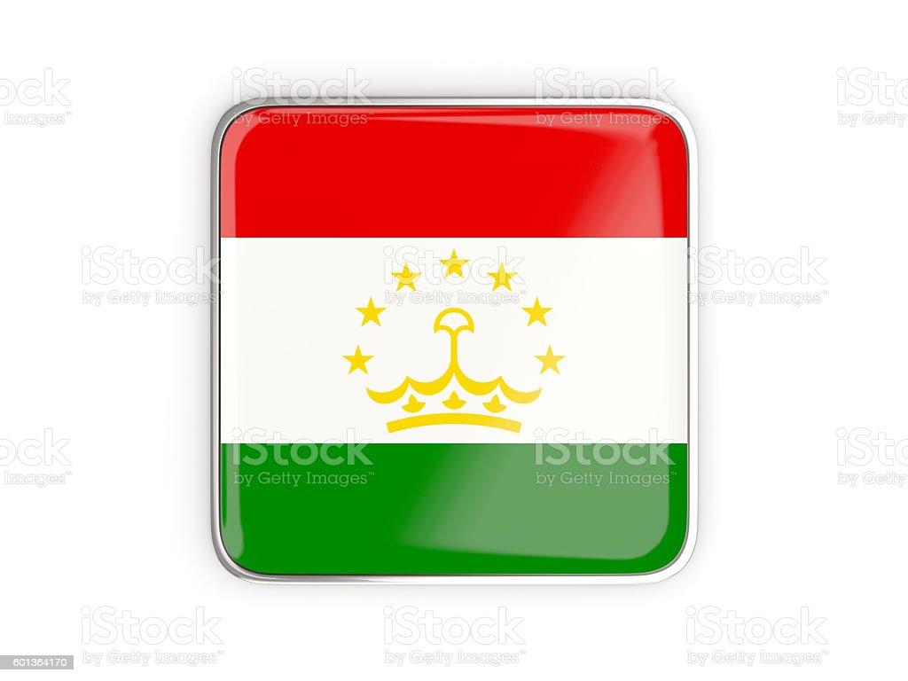 Flag of tajikistan, square icon stock photo