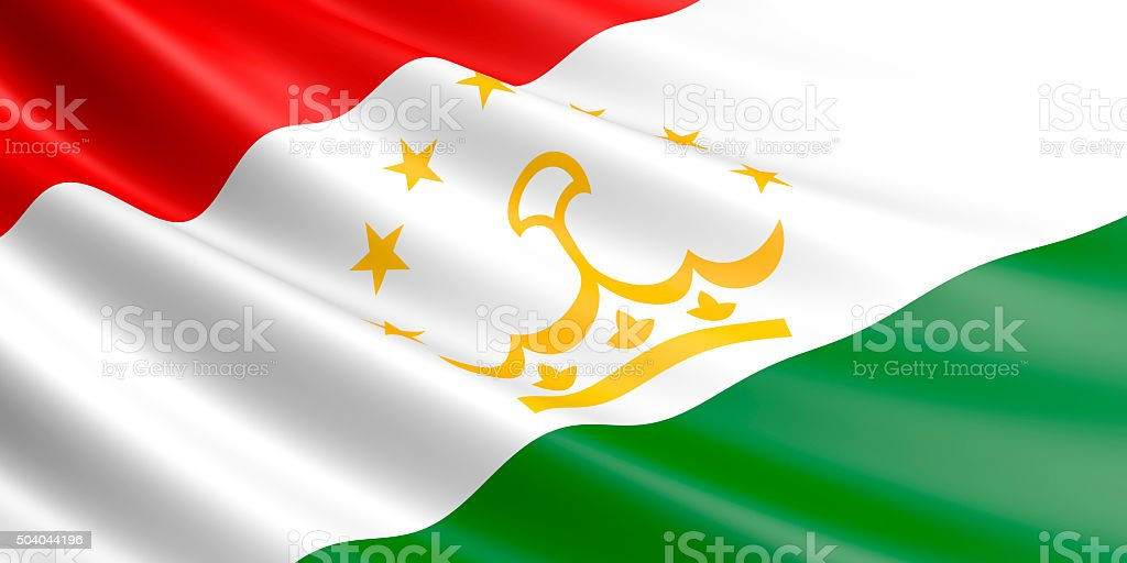Flag of Tajikistan waving in the wind. royalty-free stock vector art